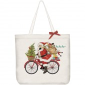 Santa Red Bike Tote Bag