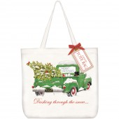 Green Christmas Truck Tote Bag