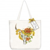 Marigold Cow Skull Tote Bag