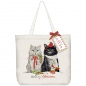 Cats Cardinal & Chickadee Tote Bag