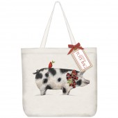 Pig Plaid Bow Tote Bag