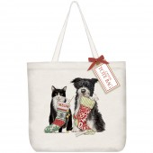 Cat And Dog With Stockings Tote Bag
