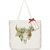 Holiday Cow Skull Tote Bag
