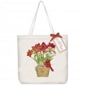 Cardinal Amaryllis Square Tote Bag