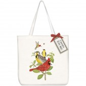 Stacked Bird Branch Square Tote Bag