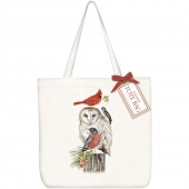 Stacked Winter Birds Square Tote Bag
