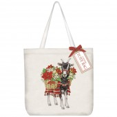 Poinsettia Goat Square Tote Bag