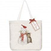 Snowman Cat Square Tote Bag