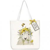 Sheep Flower Crown Square Tote Bag