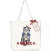 Uncle Sam Cat Square Tote Bag