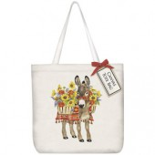 Donkey Sunflowers Square Tote Bag