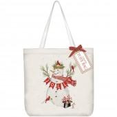 Cardinal Snowman Square Tote Bag