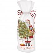 Santa Ornament Tree Wine Bag