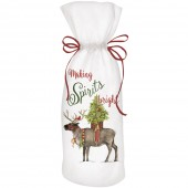 Reindeer With Tree Wine Bag