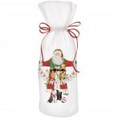 Santa With Garland Wine Bag