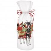 Poinsettia Goat Wine Bag
