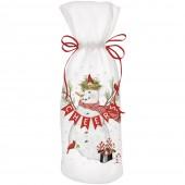 Cardinal Snowman Wine Bag
