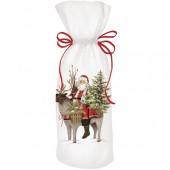 Santa With Reindeer Wine Bag
