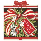 Red Stripe Bow Tea Box