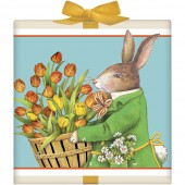 Rabbit Holding Tulip Basket Tea Box